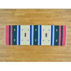 One-of-a-Kind Blank Design Handmade Kilim Pink/Blue Wool Area Rug