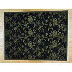 One-of-a-Kind Cearbhall Tibetan Botanical Design Handwoven Black Wool Area Rug