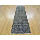 One-of-a-Kind Bean Damask Handwoven Black Wool/Silk Area Rug