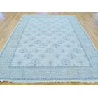 One-of-a-Kind Bearer Turkish Knot Cropped Hand-Knotted Ivory Wool Area Rug