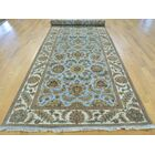 One-of-a-Kind Bear Hand-Knotted Blue Wool Area Rug