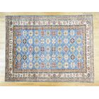 One-of-a-Kind Bechtold Geometric Design Hand-Knotted Blue Wool Area Rug