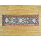 One-of-a-Kind Bechtold Tribal Design Handwoven Teal Wool Area Rug