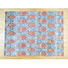 One-of-a-Kind Beatrix Ikat Design Handwoven Blue Silk Area Rug