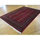 One-of-a-Kind Belford Elephant Feet Design Bokara Handwoven Red Wool Area Rug
