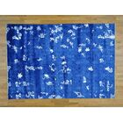 One-of-a-Kind Bean Art Hand-Knotted Blue Silk Area Rug