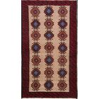 One-of-a-Kind Traditional Geometric Balouch Persian Hand-Knotted 3'3