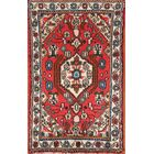 One-of-a-Kind Geometric Foyer Hamedan Persian Hand-Knotted 1'9