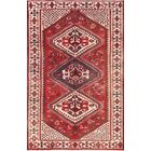 One-of-a-Kind Geometric Tribal Bakhtiari Vintage Persian Hand-Knotted 4'4