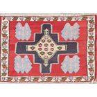 One-of-a-Kind Geometric Kilim Sanandaj Bidjar Persian Hand-Knotted 2' 0'' x 2' 11'' Wool Red/Purple Area Rug