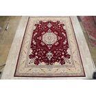 Classical Soft Plush Traditional Floral Tabriz Persian Burgundy/Cream Area Rug