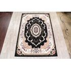 Mayle Soft Plush Floral Isfahan Persian Black/Ivory/Yellow Area Rug