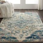 Bellock Oriental Beige/Blue Area Rug Rug Size: Rectangle 4' x 6'
