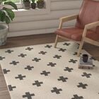 Litten Hand-Crafted White/Black Area Rug Rug Size: Rectangle 5' x 7'6