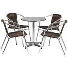 Koa Round Indoor Outdoor 5 Piece Bar Height Dining Set Table Size: 27.25