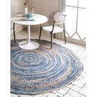 Philo Braided Chindi Blue Area Rug Rug Size: Round 8'