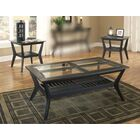 Spinella 3 Piece Coffee Table Set Table Base Color: Black, Table Top Color: Black/Glass