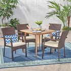 Fidel 5 Piece Teak Dining Set with Cushions