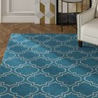 Shandi Hand-Tufted Teal Area Rug Rug Size: Round 8'