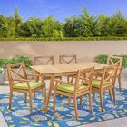 West Adams 7 Piece Teak Dining Set with Cushions
