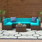 Dunecrest 7 Piece Rattan Sectional Seating Group with Cushions Fabric: Blue
