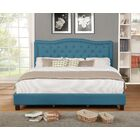 Jaylyn Upholstered Panel Bed Color: Blue, Size: King