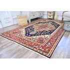 Oriole Hand-Knotted Wool Navy/Orange Area Rug Rug Size: Rectangle 4' x 6'