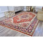 Oriole Hand-Knotted Wool Red/Beige Area Rug Rug Size: Rectangle 9' x 12'