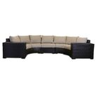Darden 5 Piece Rattan Sectional Seating Group with Cushions Cushion Color: Sangria