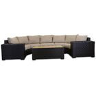 Darden 6 Piece Rattan Sectional Seating Group with Cushions Cushion Color: Sangria