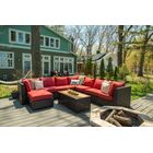 Darden 9 Piece Rattan Sectional Seating Group with Cushions Cushion Color: Regatta