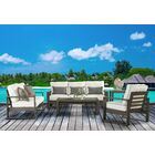 Sheppard Patio 5 Piece Sofa Seating Group with Cushions Cushion Color: Canvas Crimson
