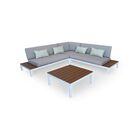 Nelson Outdoor Furniture Modern Patio Sofa with Cushions Fabric: Gray, Finish: White Metal