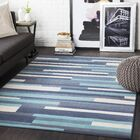 Huerta Striped Aqua/Charcoal Area Rug Rug Size: Rectangle 7'10
