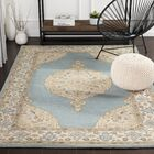Moon Hand-Tufted Wool Teal/Cream Area Rug Rug Size: Rectangle 5' x 7'6