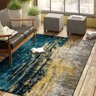 Costales Yellow/Silver/Blue Area Rug Rug Size: Rectangle 9' x 12'