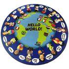 Nieto World Greeting Children's Blue/Green Area Rug Rug Size: Round 6'