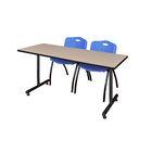 Marin Training Table with Wheels Chair Finish: Blue, Tabletop Finish: Mocha Walnut, Size: 29