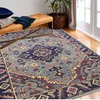 Kurtis Hand-Knotted Wool Teal Area Rug Rug Size: Rectangle 5' x 7'6