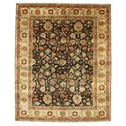 Tabriz Hand-Knotted Wool Black/Beige Area Rug