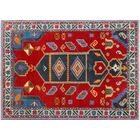 Oneybrook Hand-Knotted Wool Red/Blue Area Rug