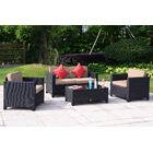 Ivey 4 Piece Rattan Sofa Seating Group with Cushions Frame Finish: Black, Cushion Color (Fabric): Khaki