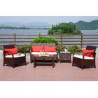 Turek 5 Piece Rattan Sofa Seating Group with Cushions Frame Finish: Brown, Cushion Color (Fabric): Creamy White