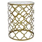 Jewett Quatrefoil End Table Table Base Color: Brass