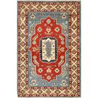 One-of-a-Kind Alayna Hand-Knotted Wool Red/Blue/Beige Area Rug