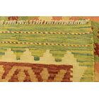 One-of-a-Kind Elland Hand-Knotted Wool Green Area Rug