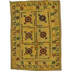 One-of-a-Kind Watchet Hand-Knotted Wool Gold/Green/Red Area Rug