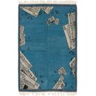 One-of-a-Kind Ollert Hand-Knotted Wool Blue Area Rug