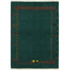 One-of-a-Kind Ollert Hand-Knotted Wool Green Area Rug