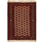One-of-a-Kind Tekke Hand-Knotted Wool Beige/Red Area Rug